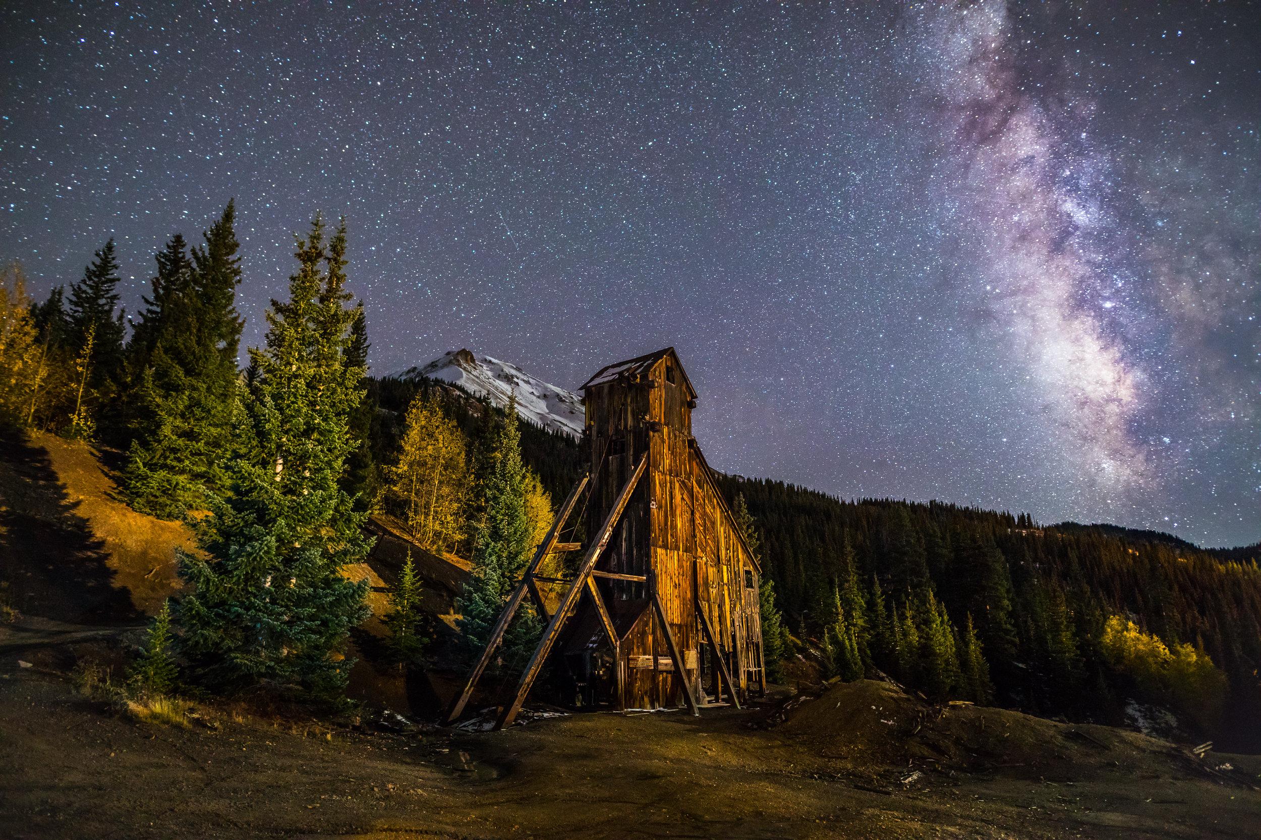 Milky way over Yankee Girl Mine, Image # 5474