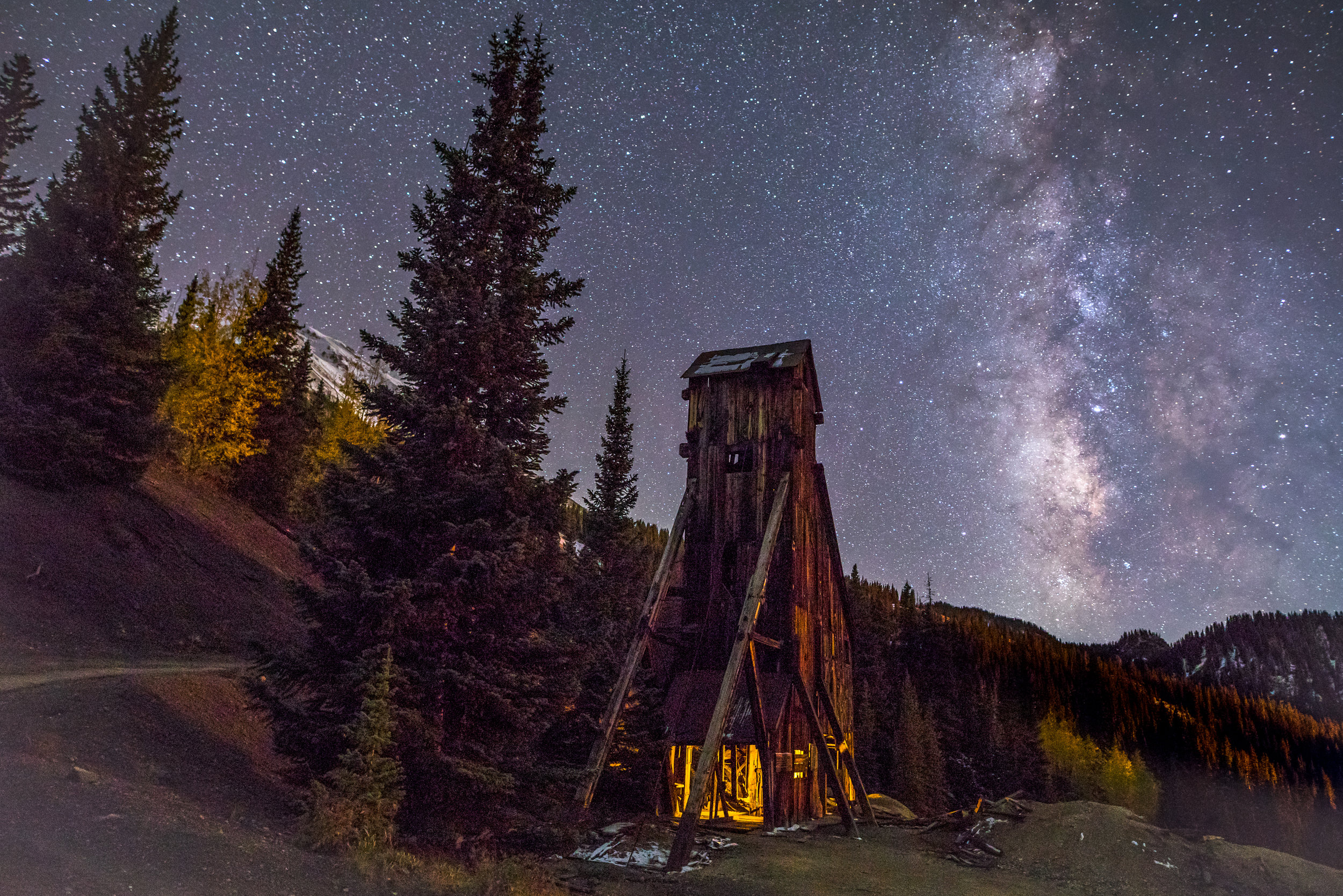 Milky way over Yankee Girl Mine, Image # 5505