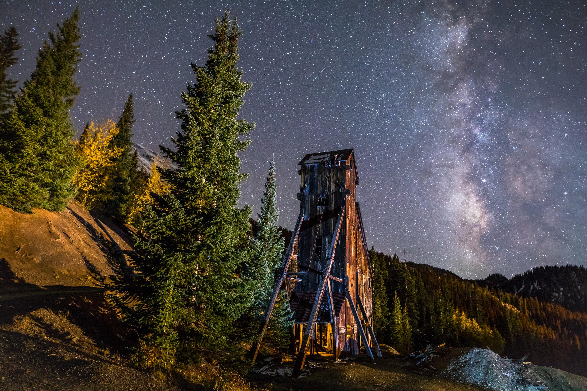 Milky way over Yankee Girl Mine, Image # 5514