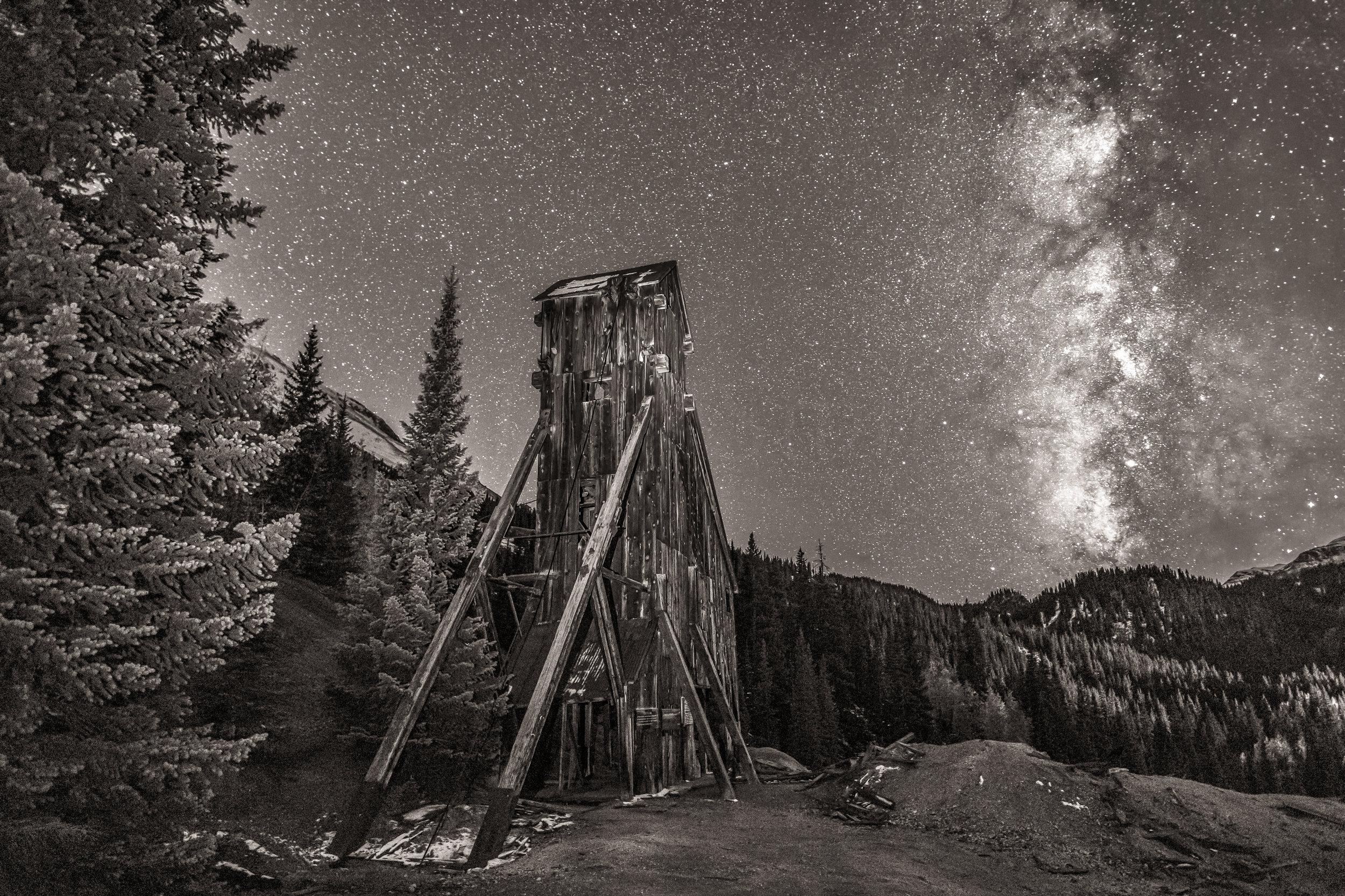 Milky way over Yankee Girl Mine, Image # 5553