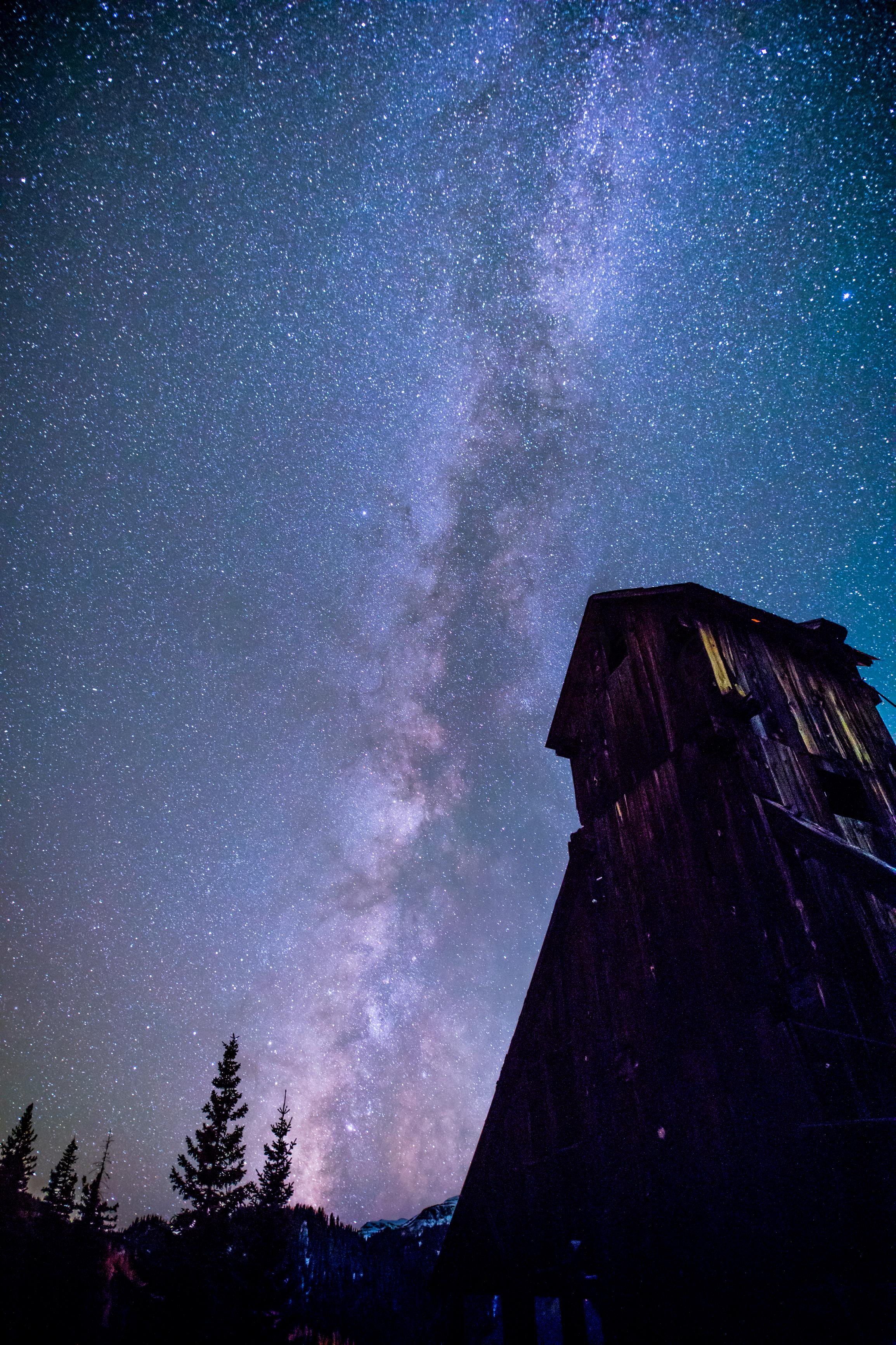 Milky way over Yankee Girl Mine, Image # 5570