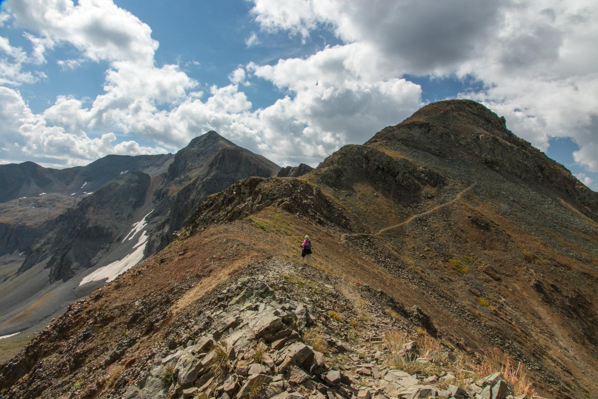 Lisa Vajda hiking across the ridge, Image # 7636