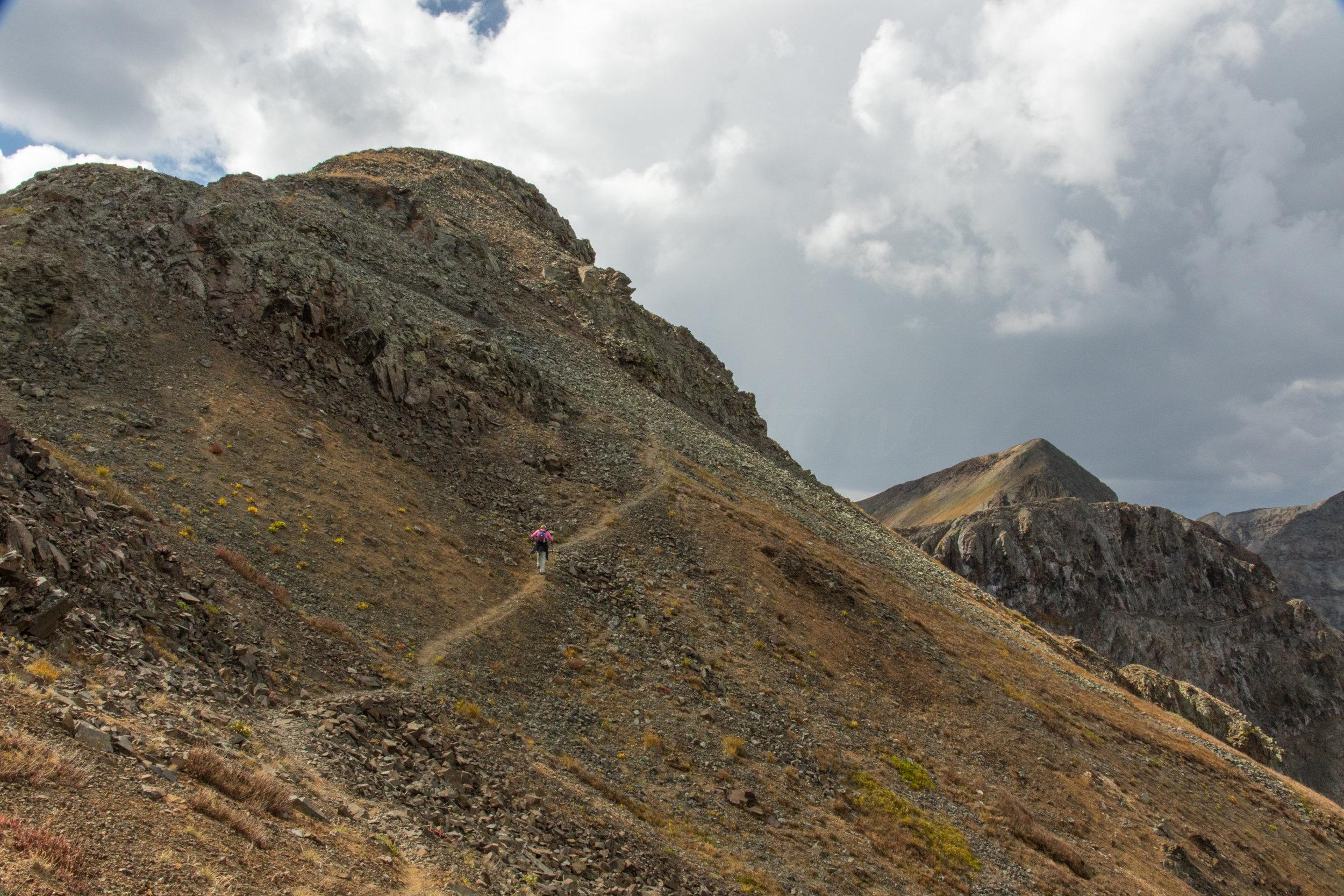 Lisa Vajda hiking across the ridge, Image # 7654