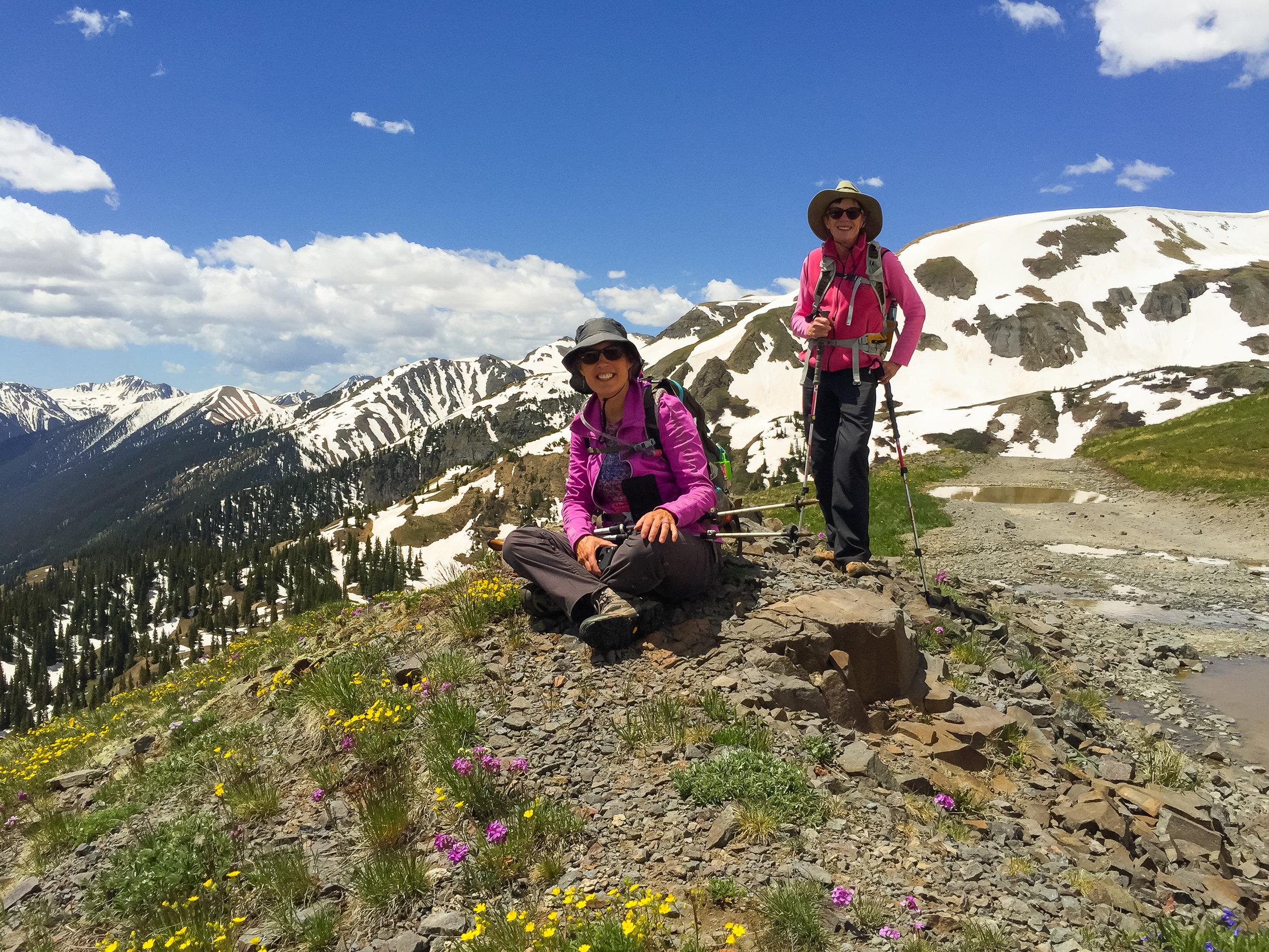Gina & Barbara catch their breath and enjoy the views