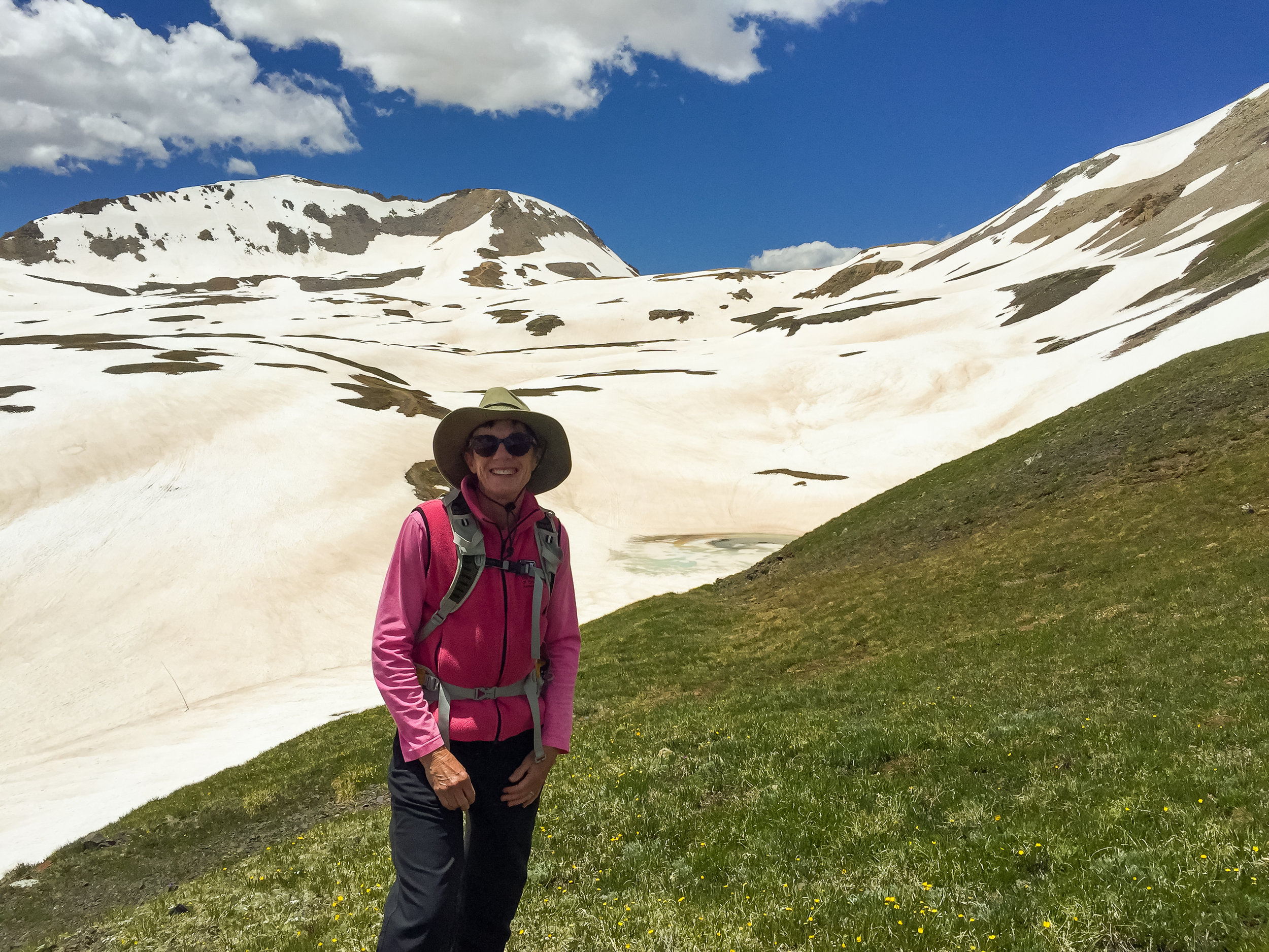 Barbara with Black Bear Pass in the background