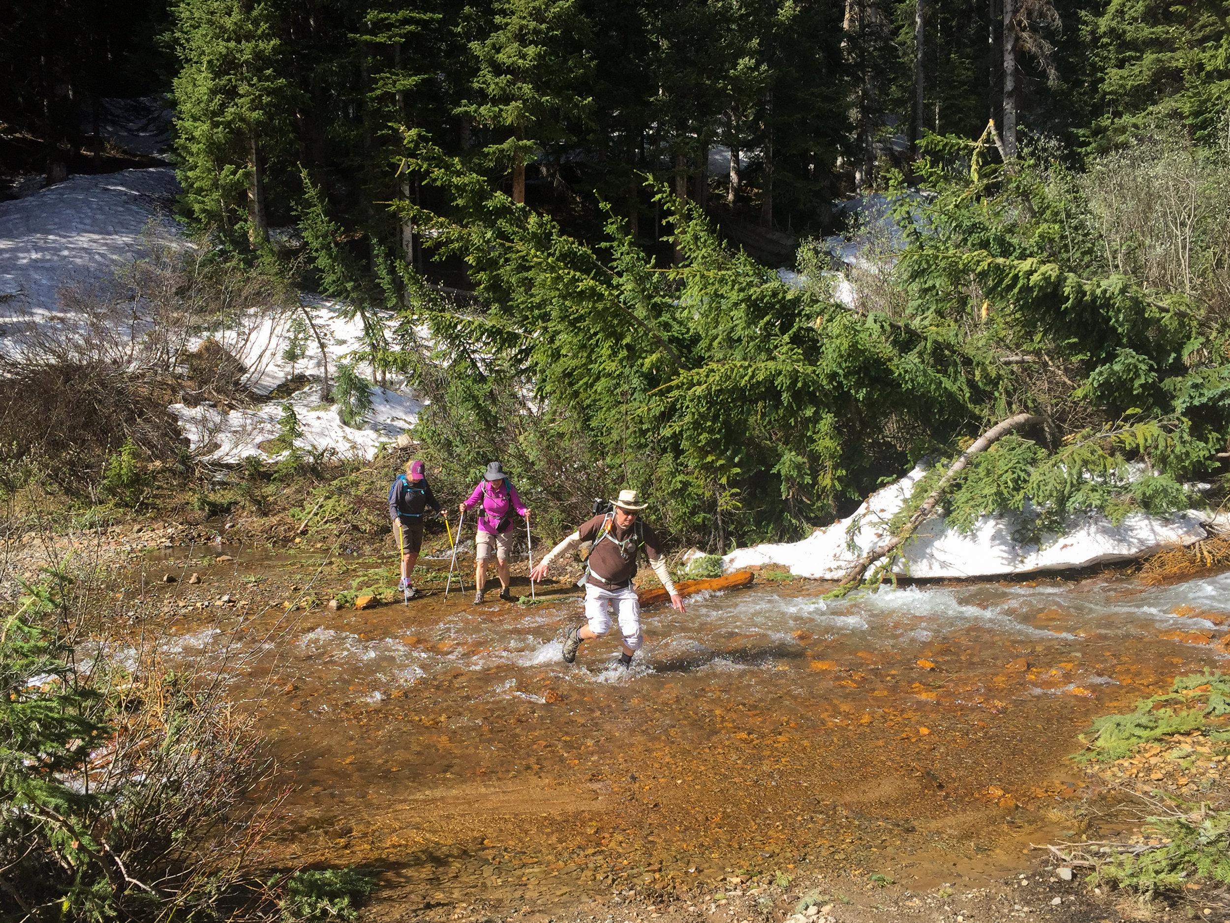 After dilly dallying around for 20 minutes trying to avoid the water, Team Everest finally attempts the first water crossing