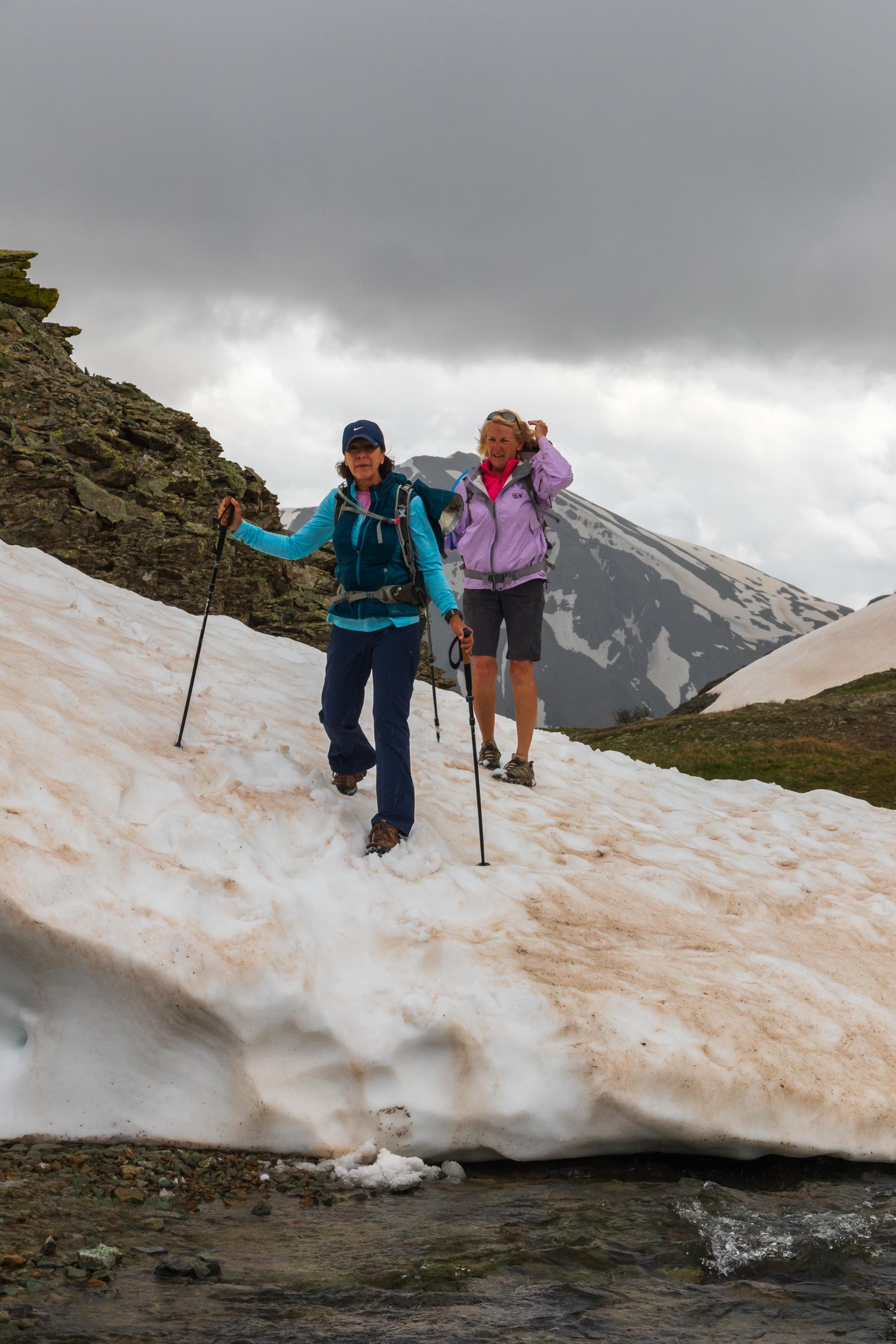 Angela & Mary crossing the snow