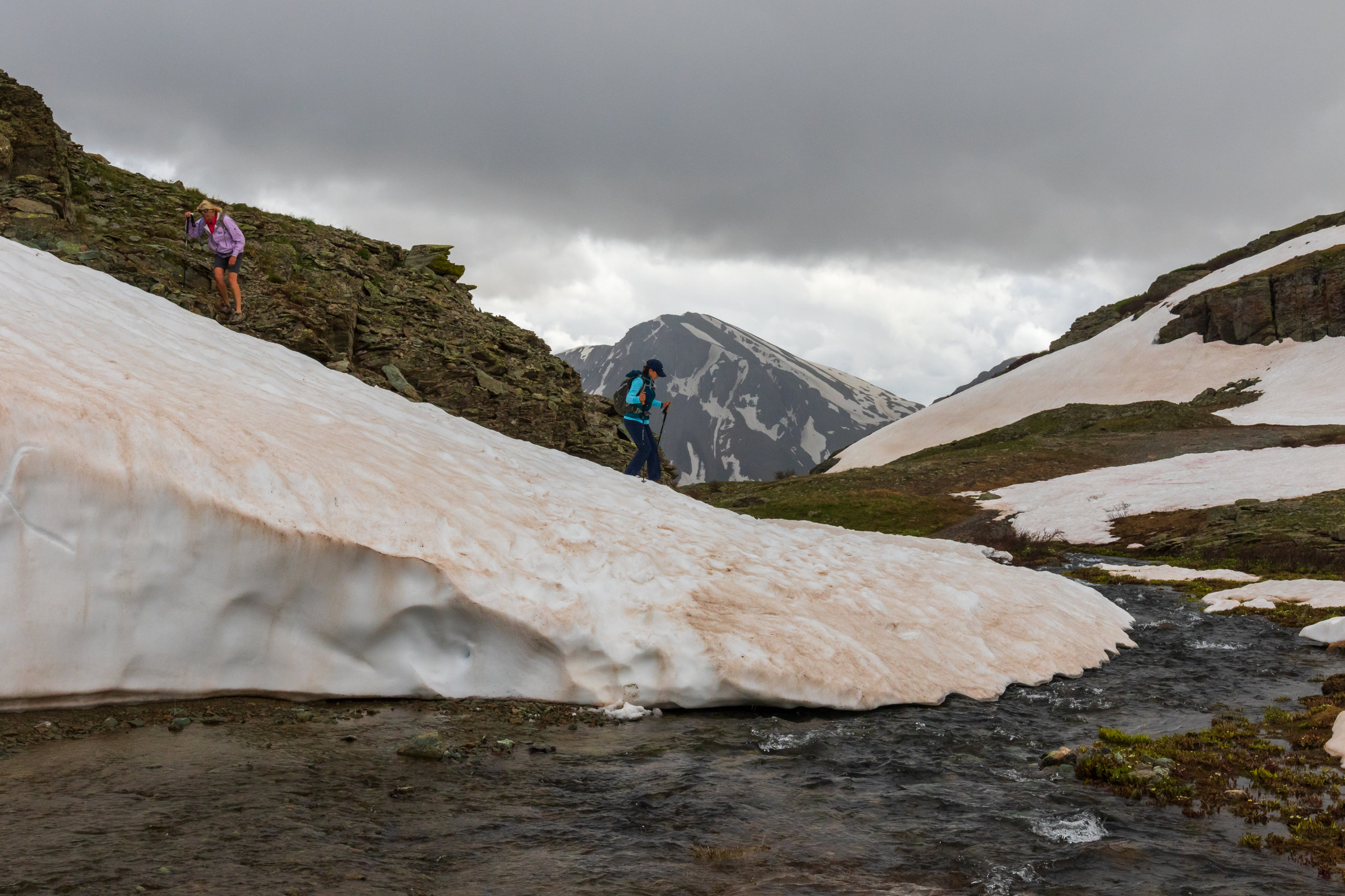 Stream and snow remaining in the basin