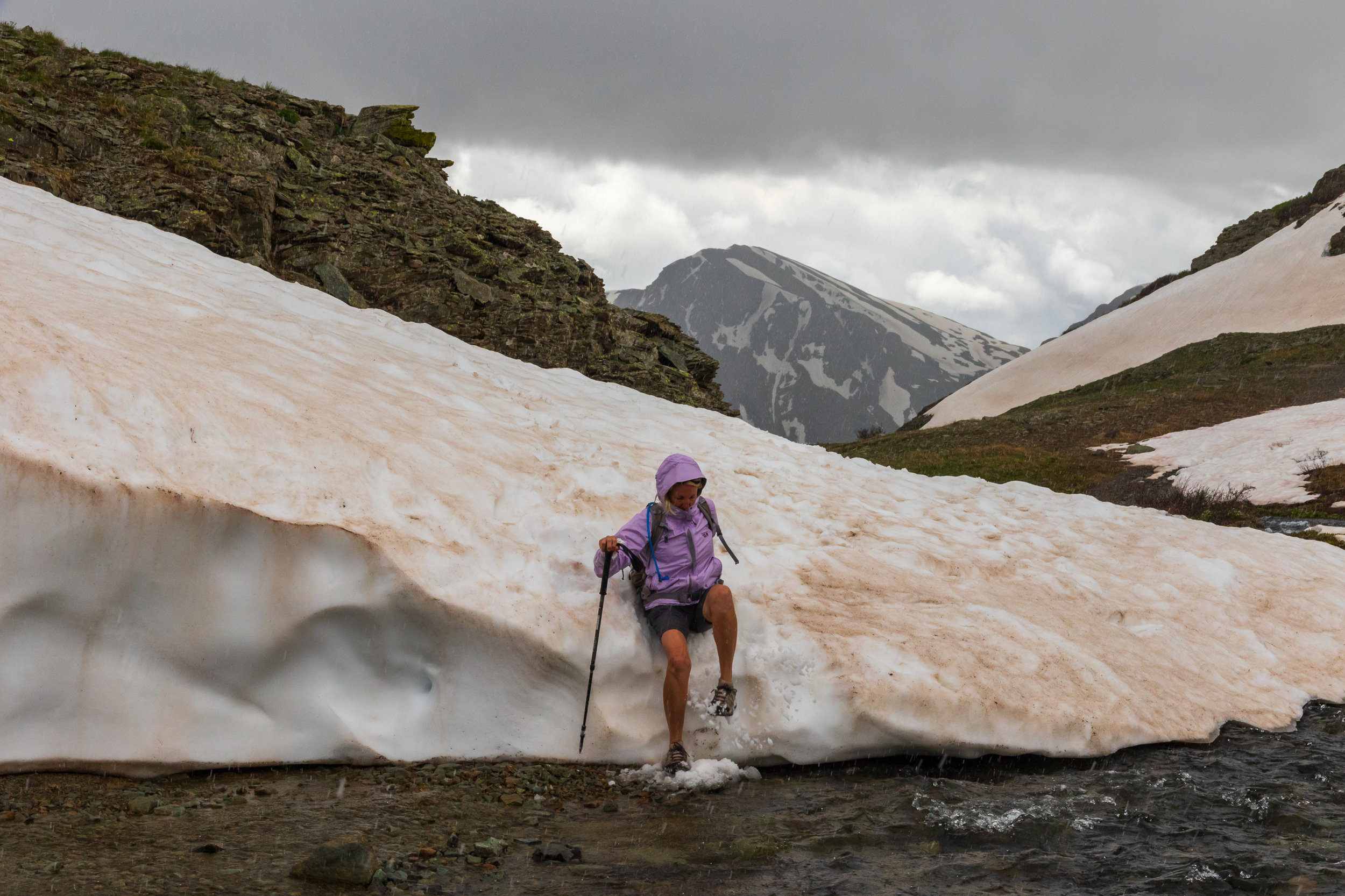 Mary in action as she conquers the snowfield