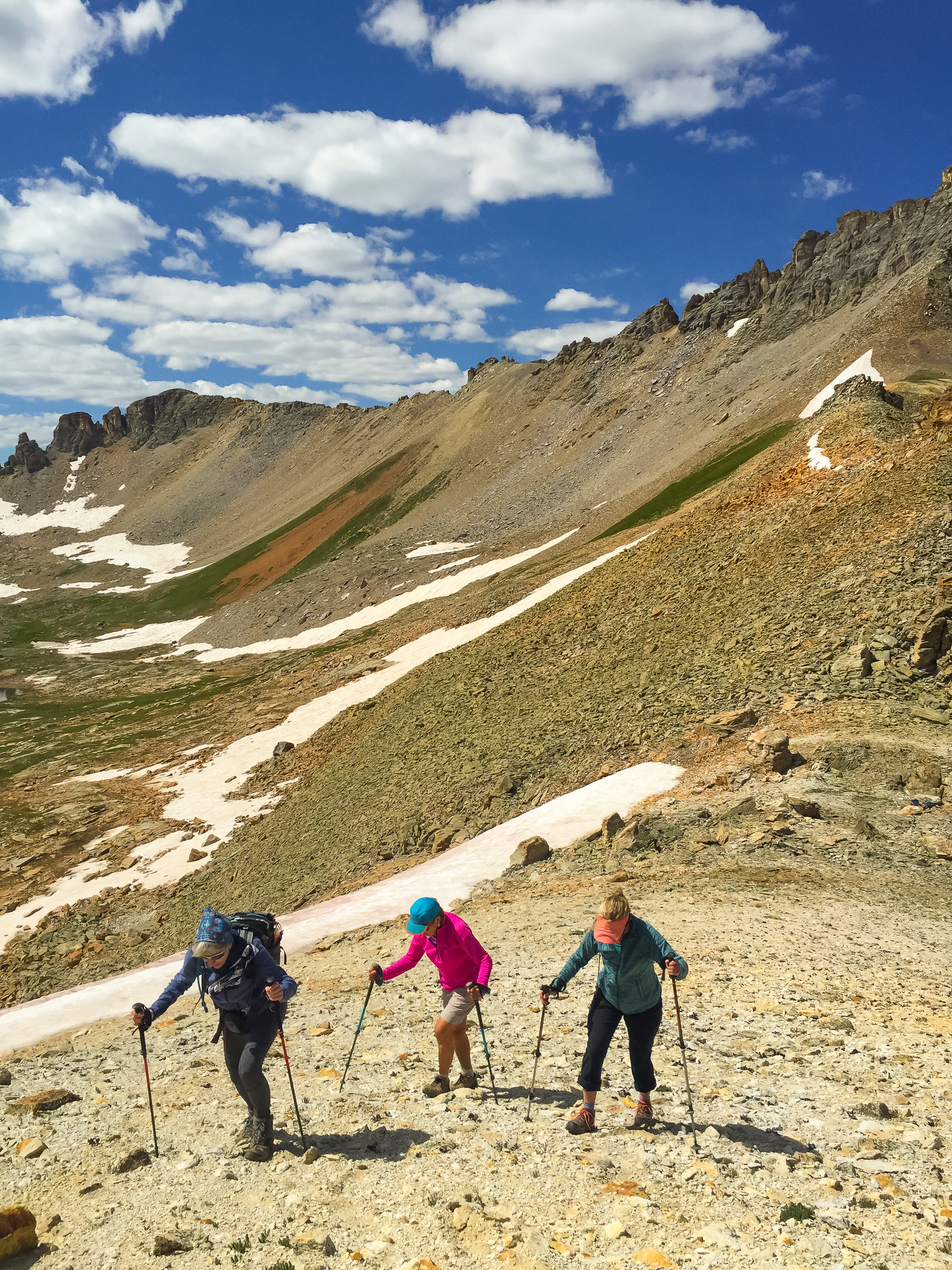 Penny, Donna & Lois climb so that we could log over 13,000'