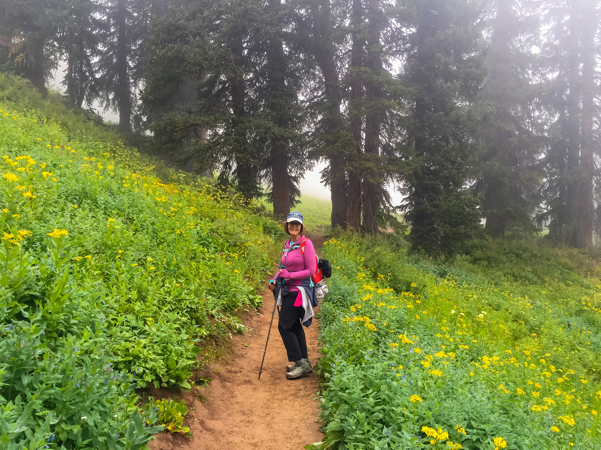 Laurie heading up the Pass Creek Trail