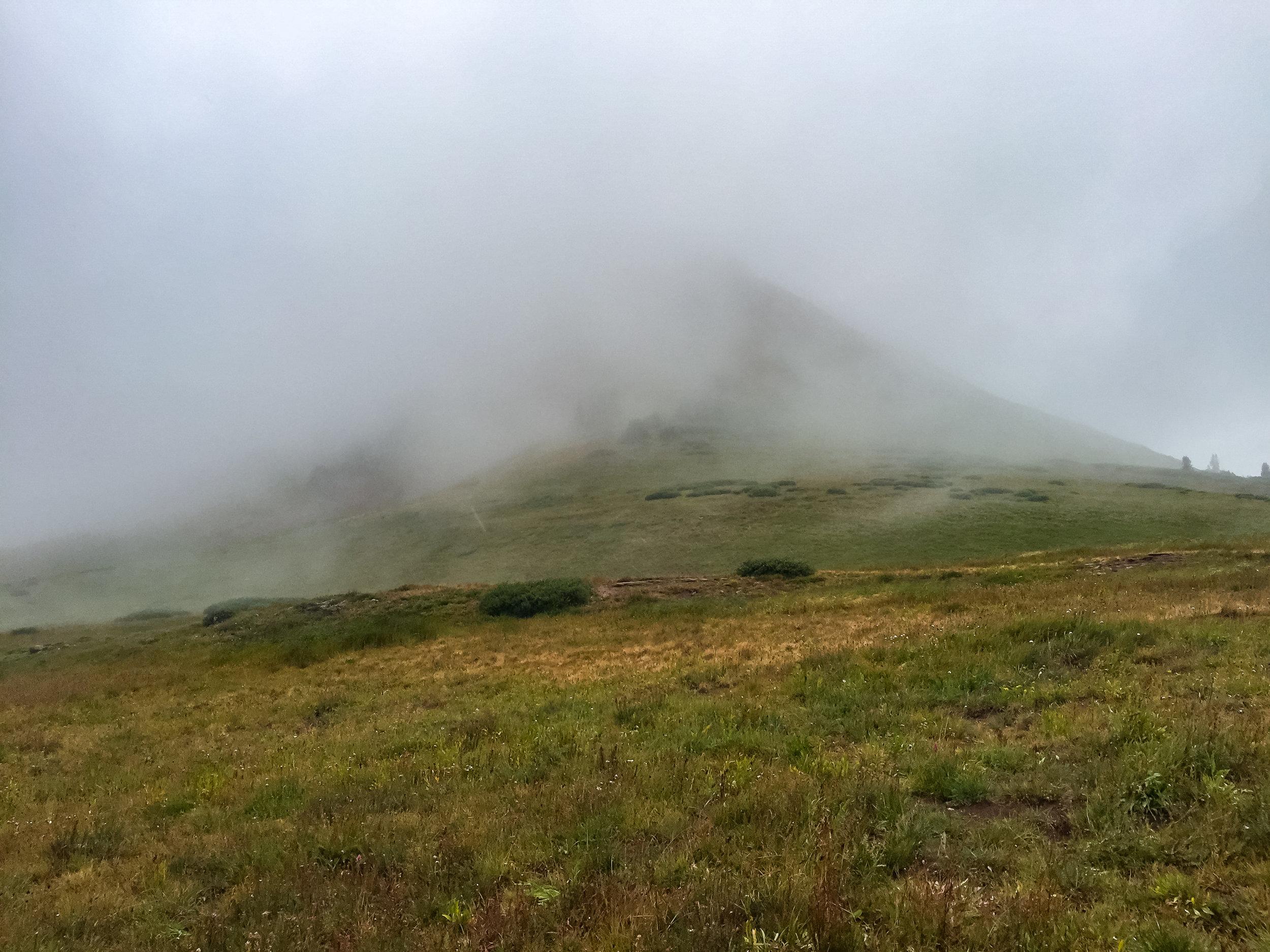 Fog engulfing Engineer Mountain