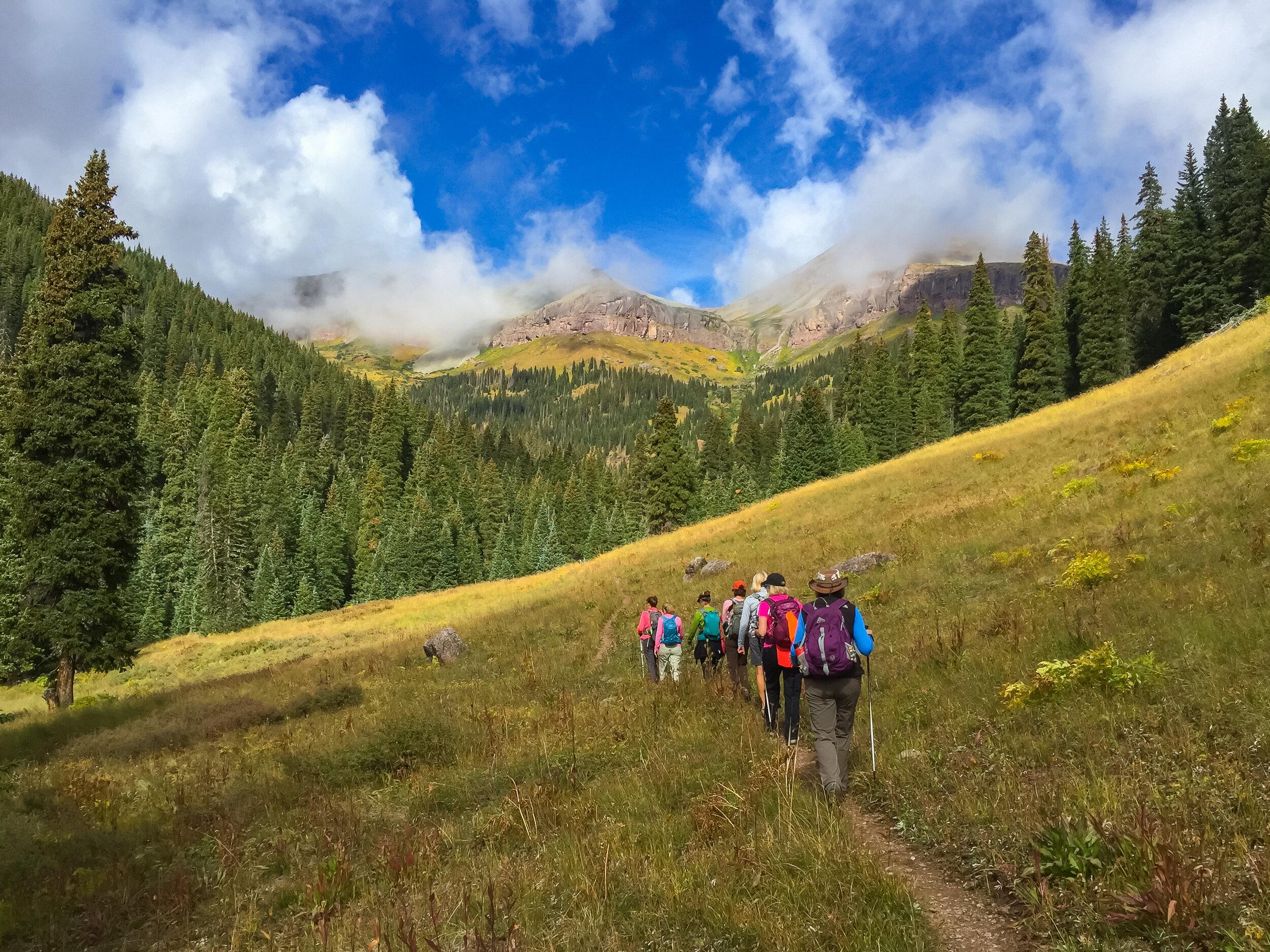 Moxies (Connie, Kyla, Mary, Angela, Lois, Lisa & Gina) hike up the trail