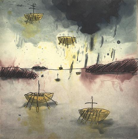 floating fleet - the island broke beneath them  etching, 8 x 8 cm