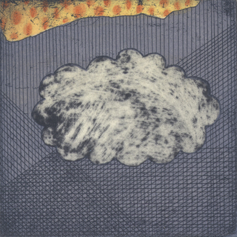 clouds and brainstorms: thinking of rain  etching, 8 x 8 cm
