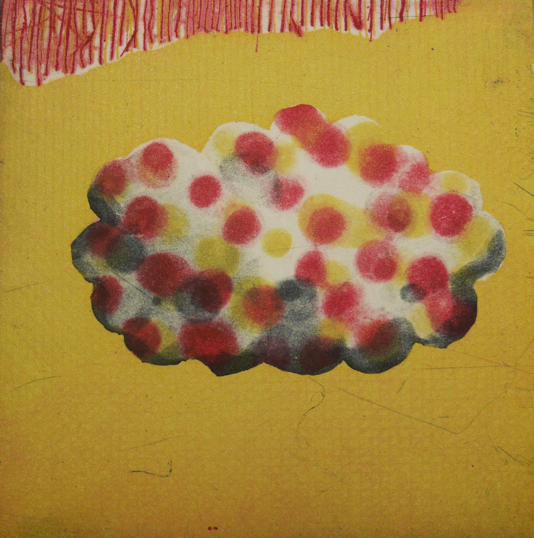summer cloud: a habit, a nostalgia, a dream...  etching, 8 x 8 cm