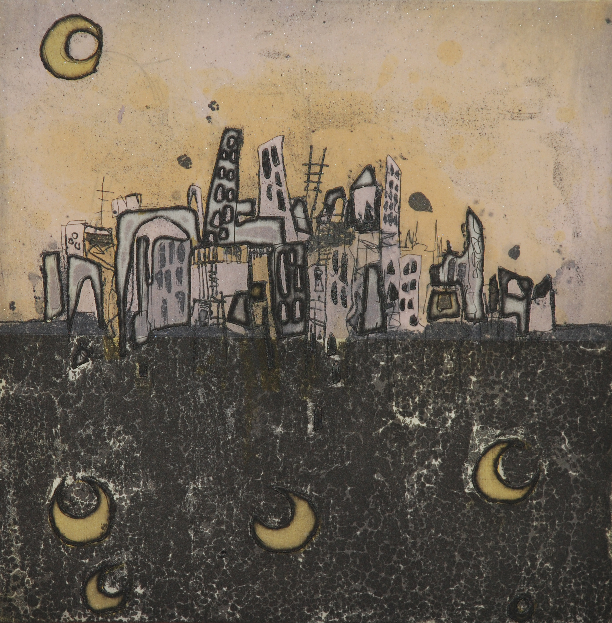 lunulae, moonlight and the metropolis  etching, 20 x 20 cm