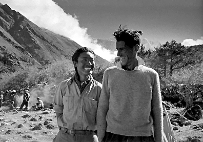 Edmund Hillary and Tenzing Norgay at the Everest base camp, after the climb. (  UPI/Bettmann)