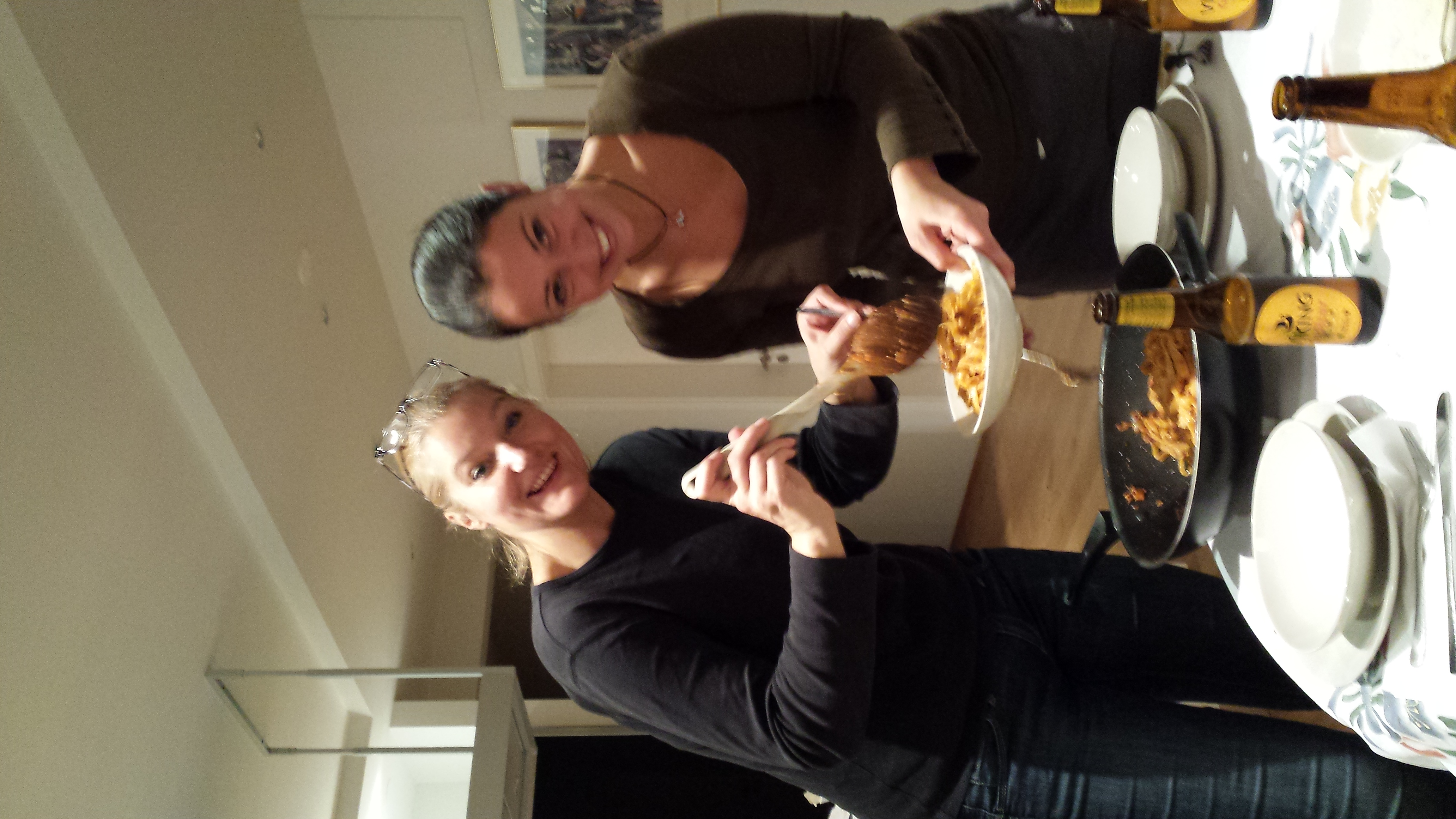 cristiana and giulia serve up an italian feast one of our last nights in iceland.