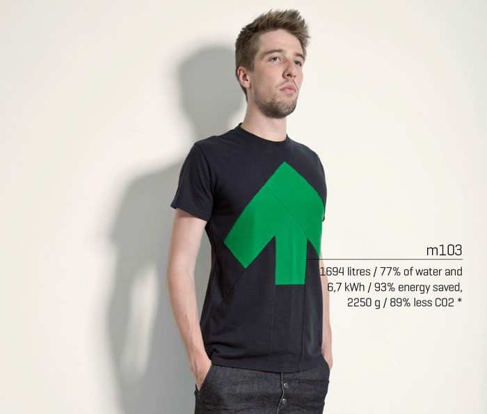 Men's design m103, highlighting some of the Up-shirt's environmental benefits