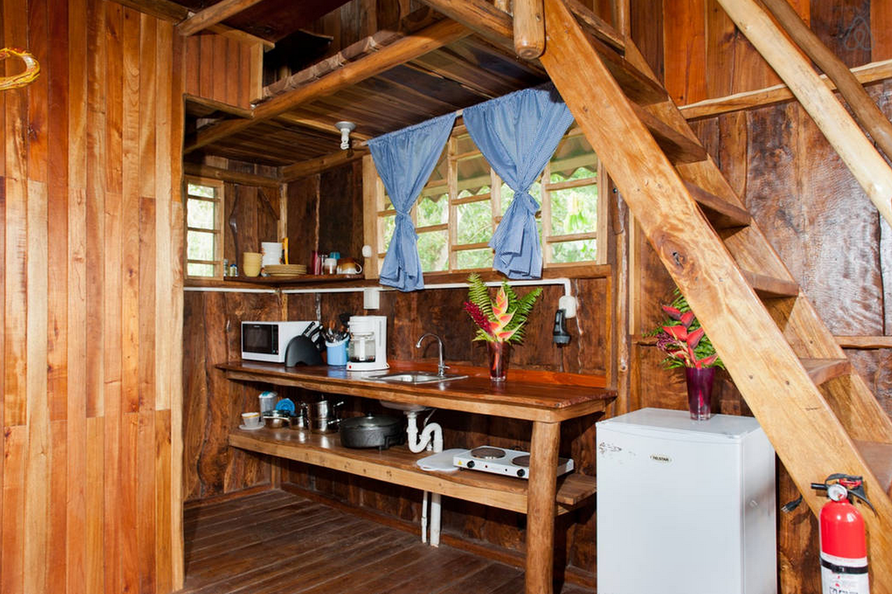 The beautiful wooden interior. No gas oven - I wonder why...