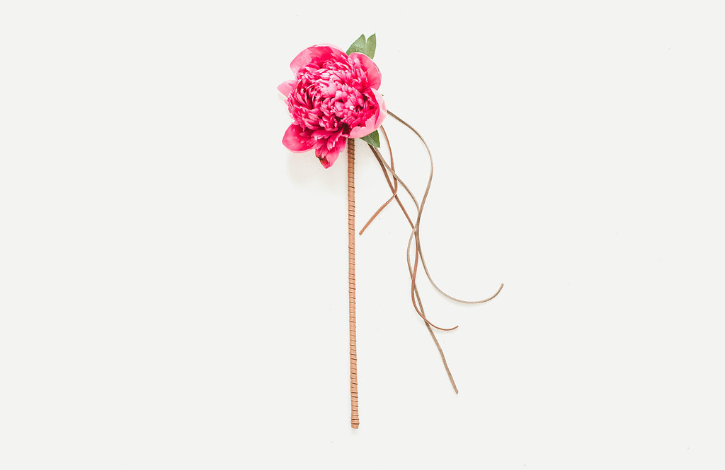 Peony and a leather wrap