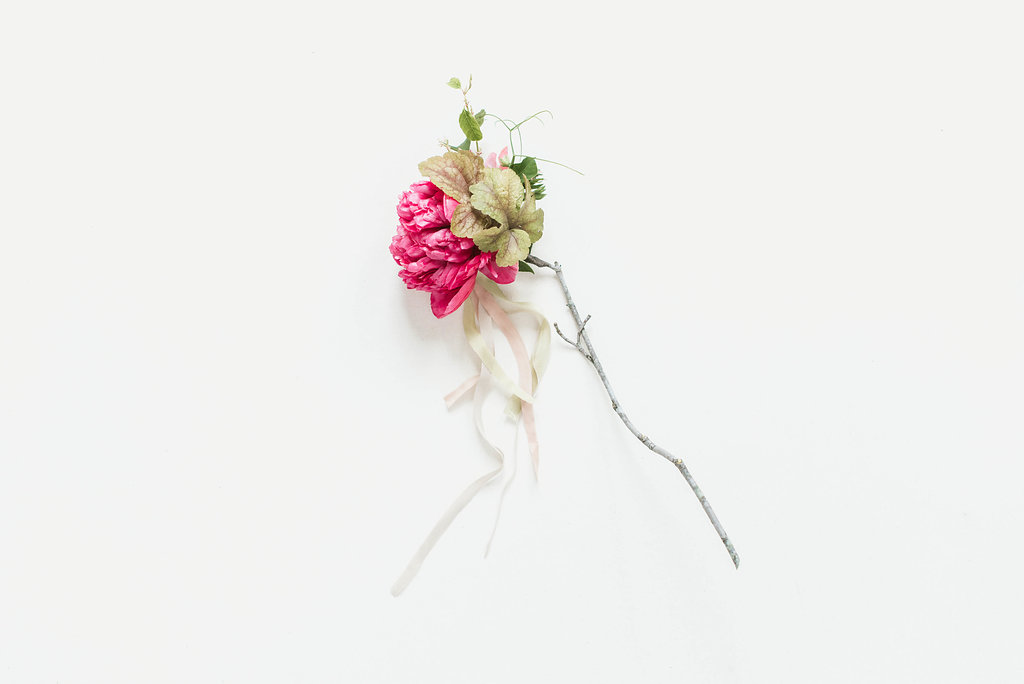 Peony and a branch
