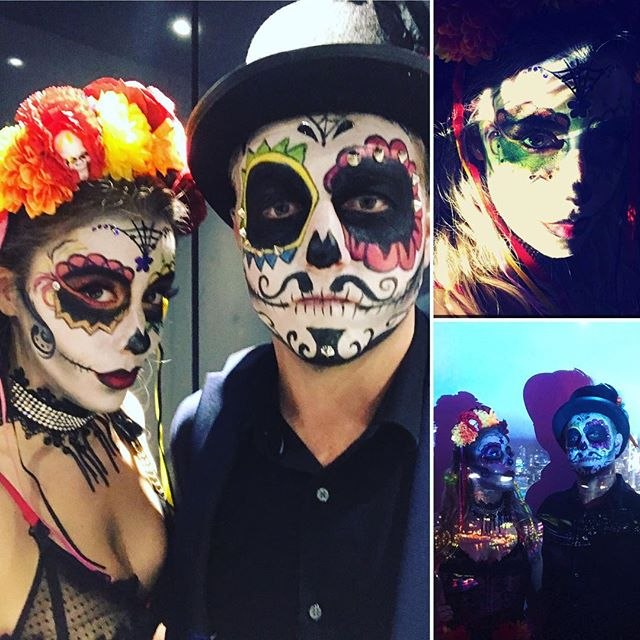 Dias de los Muertos makeup: one of Tiffany's many hidden talents.  #Halloween #diasdelosmuertos #couplescostume