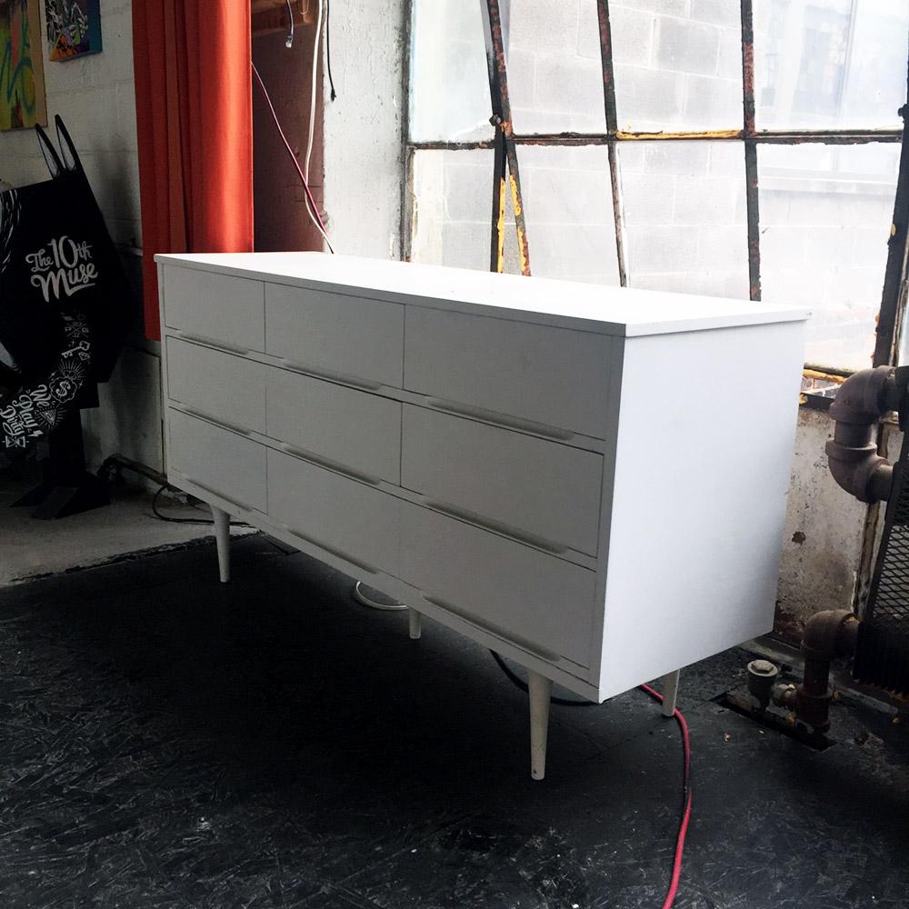 $50 - White MCM Dresser - 58 in x 18 in x 32 in
