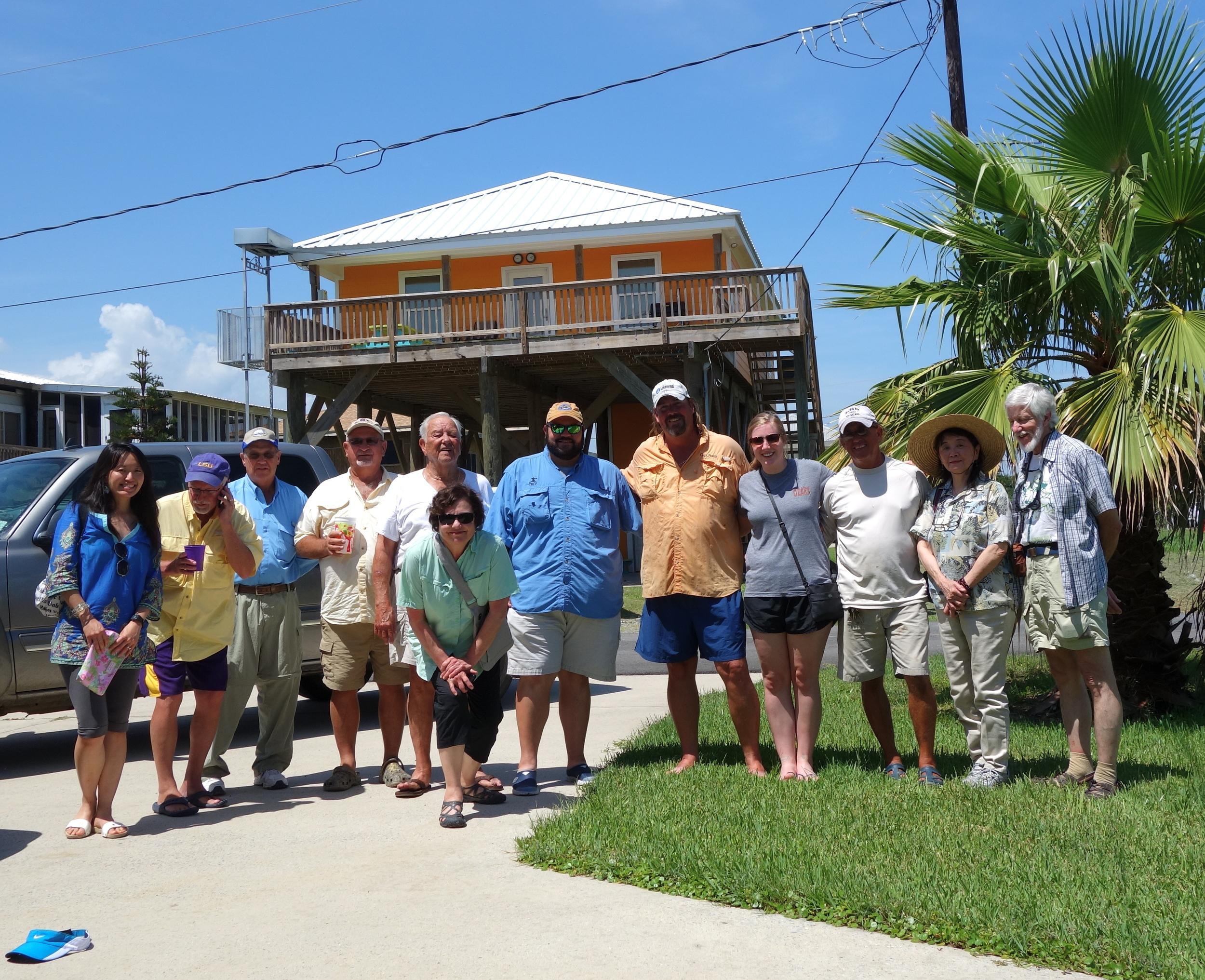 Marlene visits with local fisherman in Grand Isle