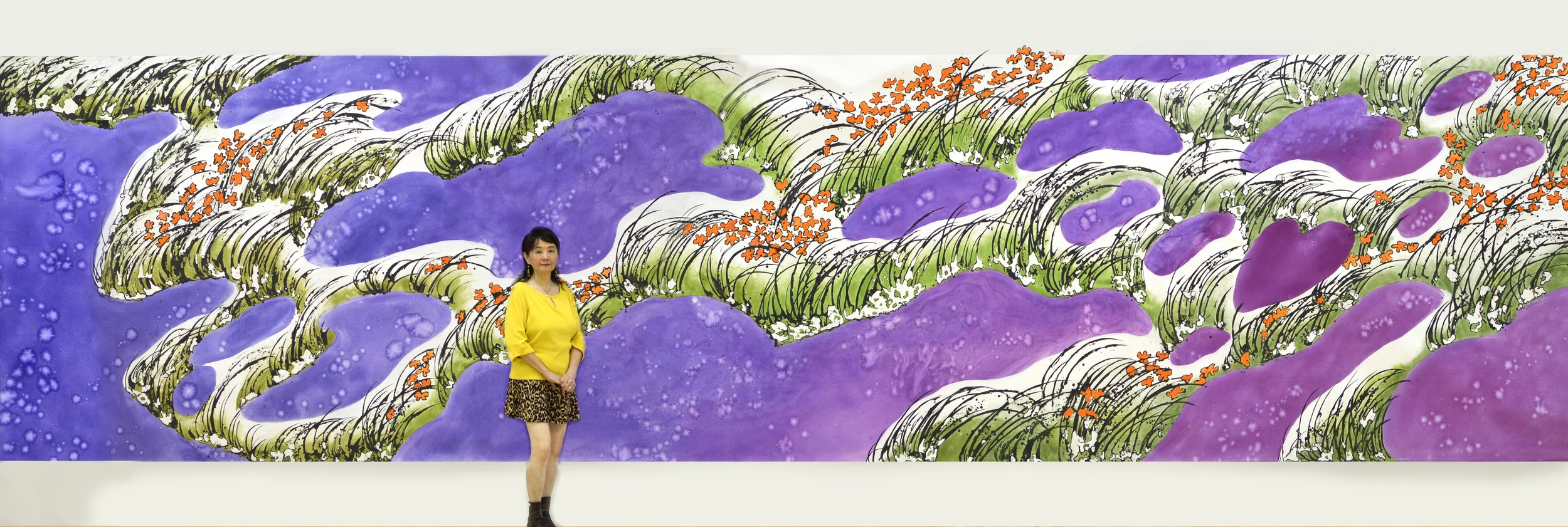 """Purple Swamp/Tiger Lily"" 2014 Acrylic on canvas 8x32 feet"