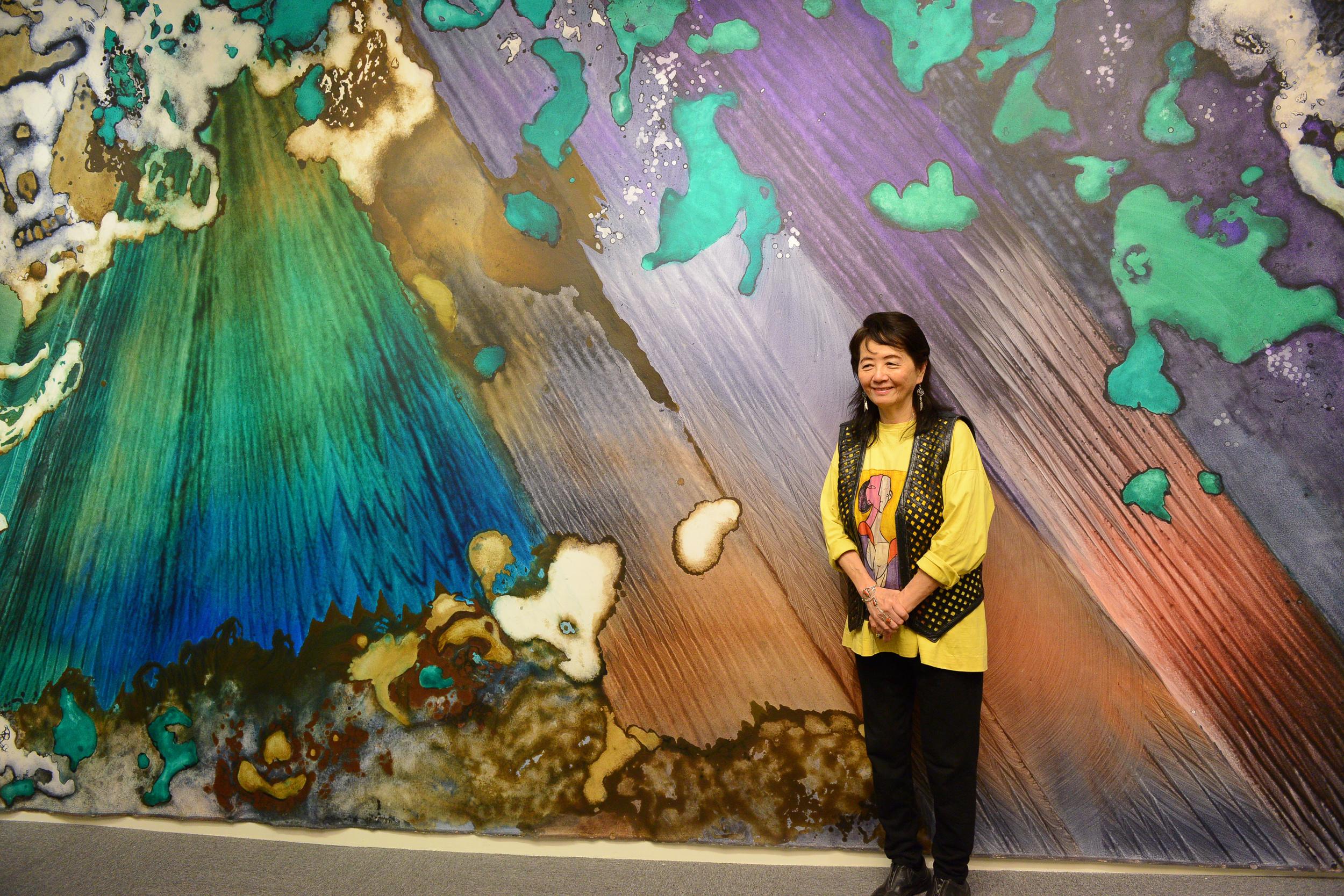 """Marlene Tseng Yu with """"Emerald Forest"""" 2010 Acrylic on canvas 10x20 feet"""