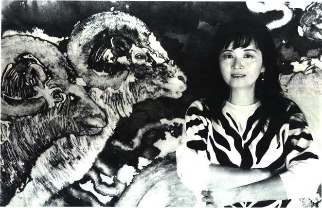 """Marlene Tseng Yu Self Portrait in front of """"Winner Takes All"""""""