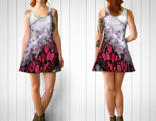 Forest Fire Flare Dress - White Style - Front and Back.png