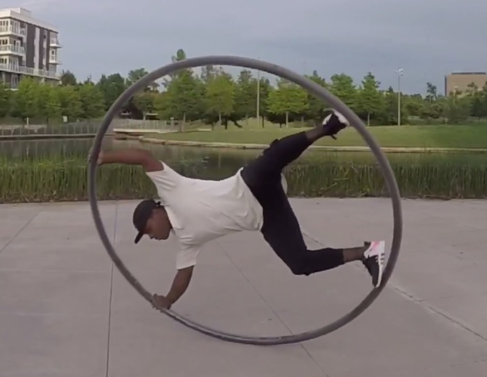Click for a video of Chapman's Cyr wheel skills!