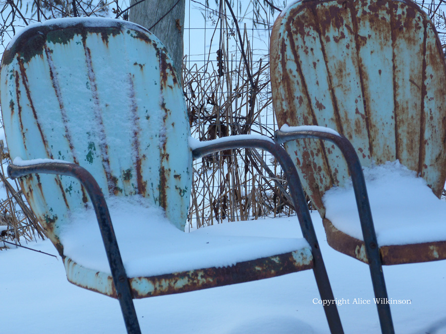 2 chairs in snow