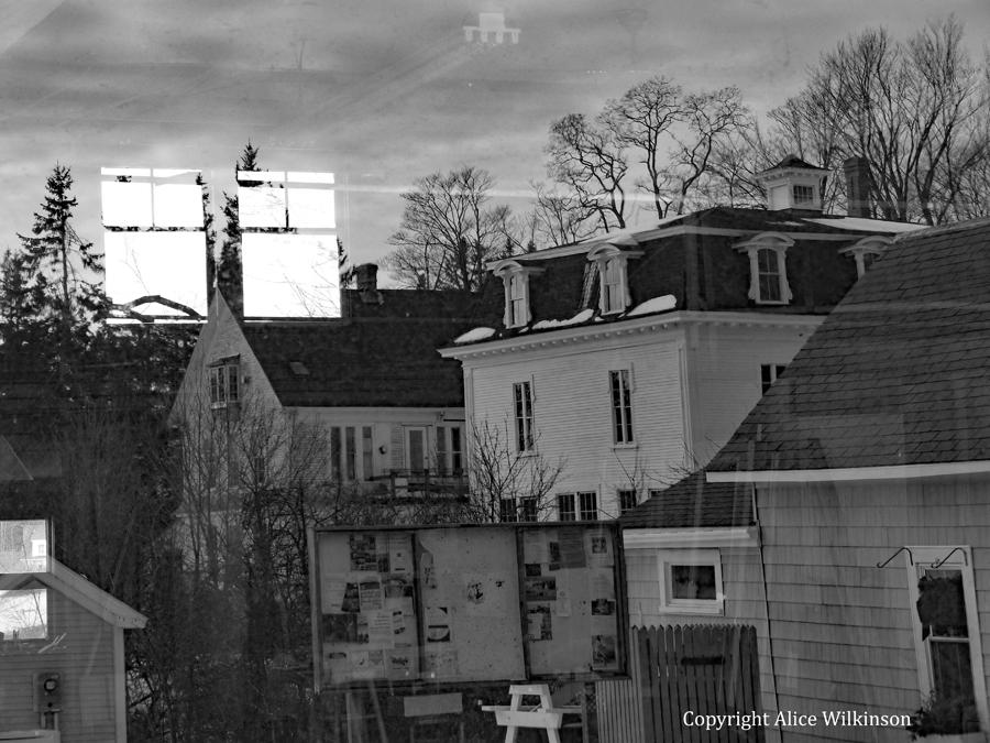 village street, reflected, b/w