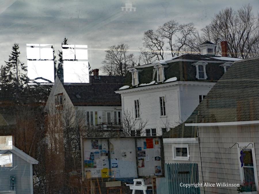 village street, reflected