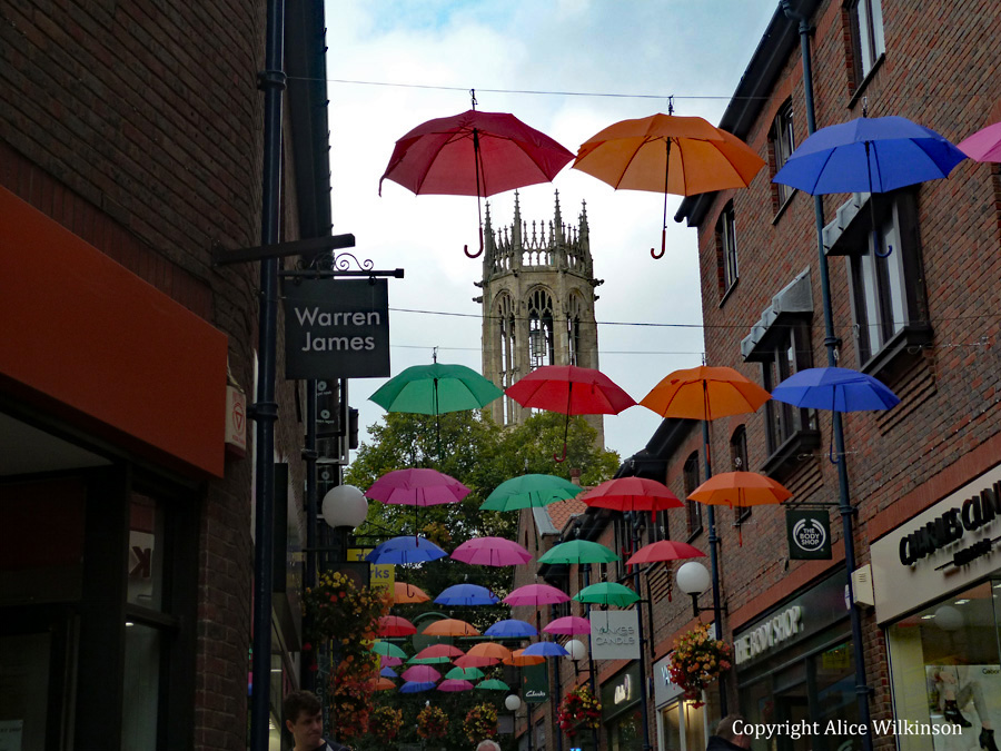 umbrellas and York Minster
