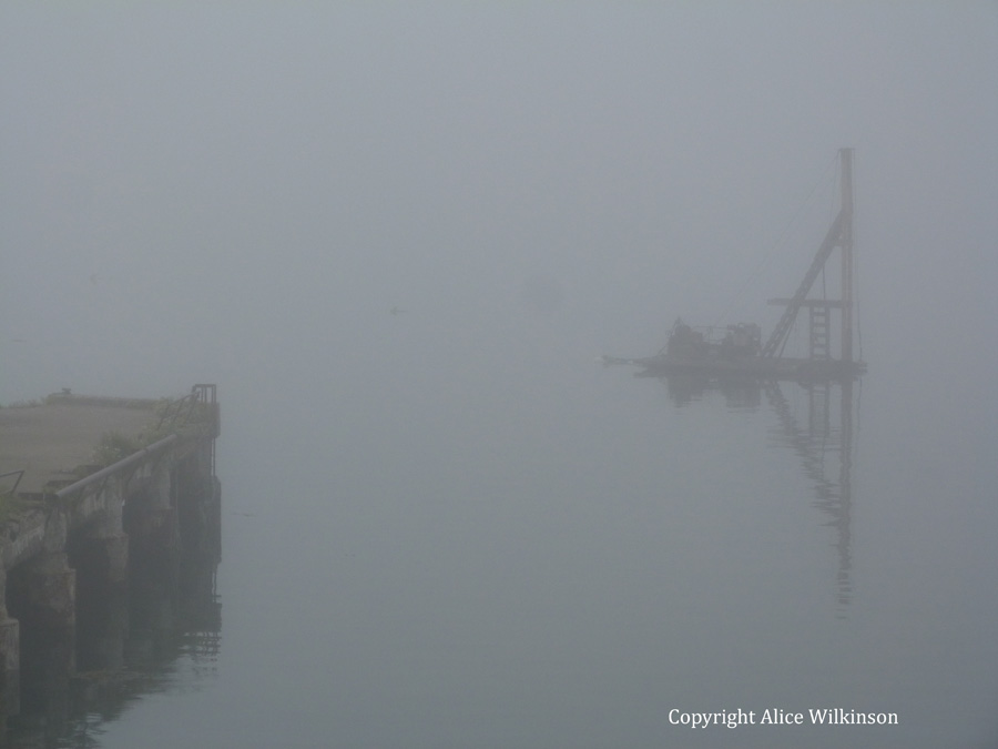 floating in fog