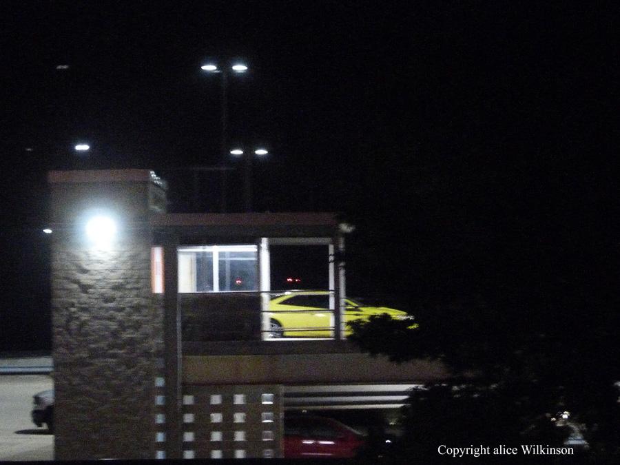 yellow truck at night