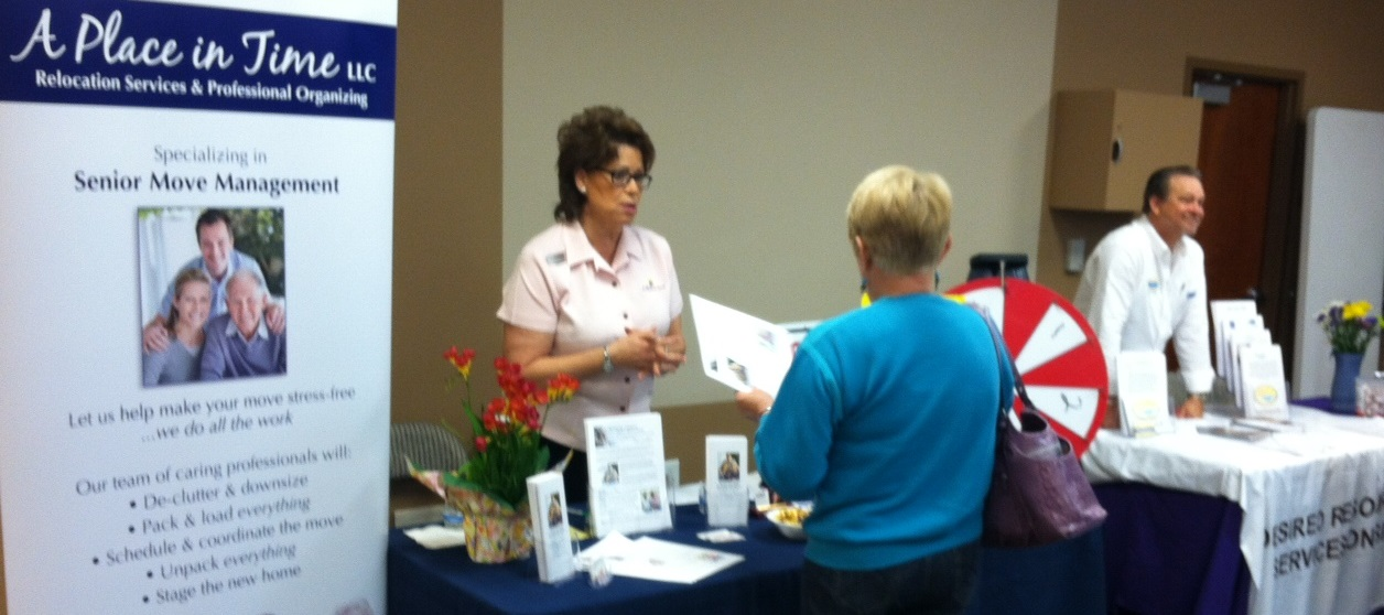 Our outreach to the senior community includes frequent participation in seminars, programs, andmajor events that help provide seniors with information about everyday living and long-term planning,and particularly how to minimize the stress that comes with relocation to a new home or retirementcommunity.This was taken at the 2014 Wellness Fair in Tempe, organized by the Alliance Care Team (ACT), an East Valley organization that serves the senior community. A Place in Time is an ACT member.