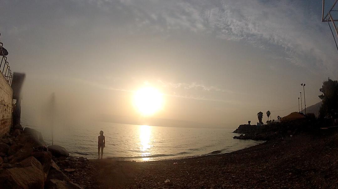 Sunrise at The Sea of Galilee ( Lake Kineret ), where Jesus walked on water.