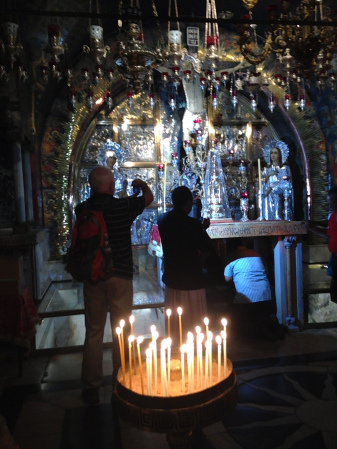 Golgotha Altar, the site where Jesus was crucified, at the Church of the Holy Sepulchre .