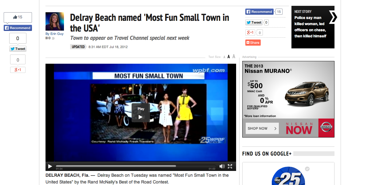 http://www.wpbf.com/money/Delray-Beach-named-Most-Fun-Small-Town-in-the-USA/15583090    Click here for the official press release