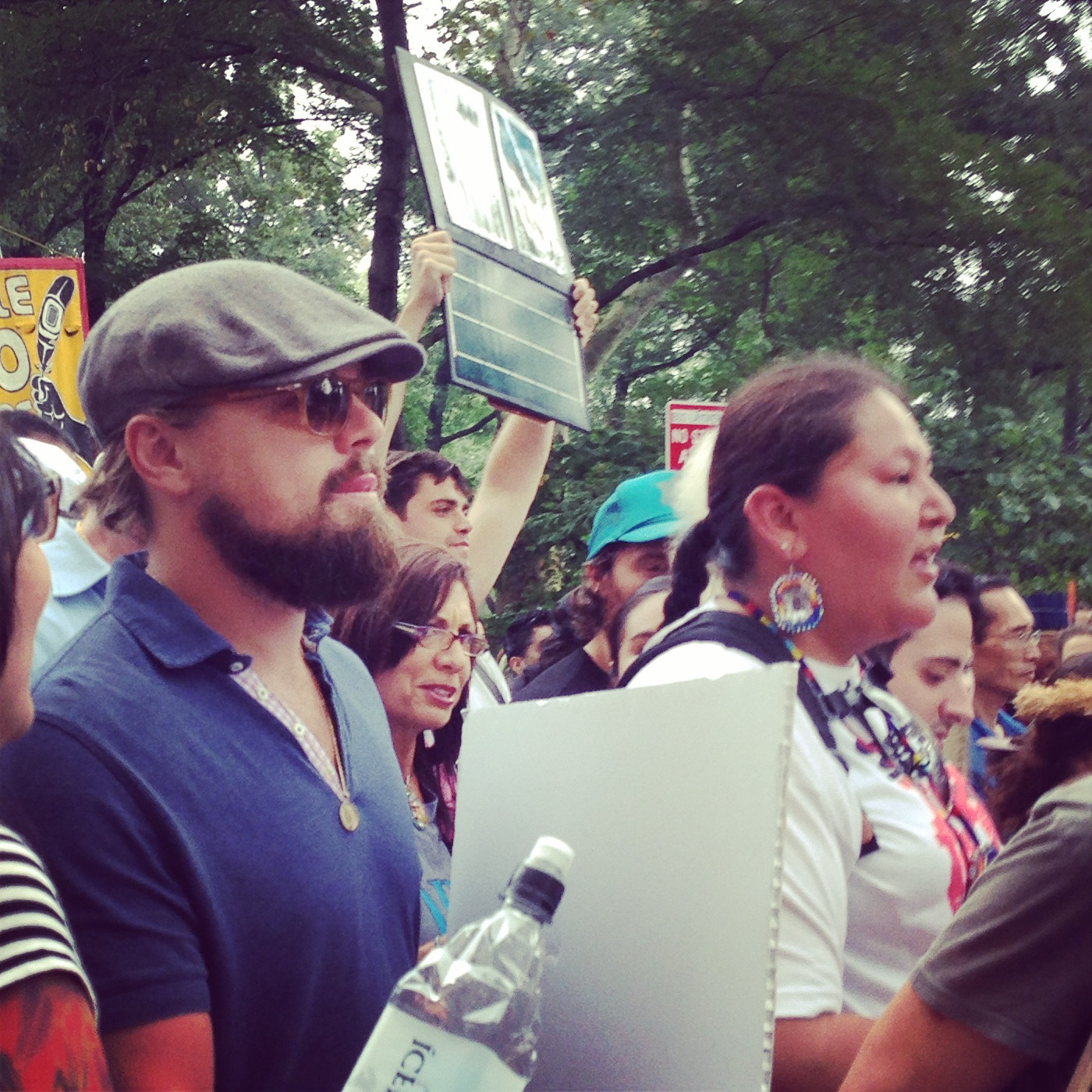 Fellow marcher at People's Climate March in New York City, Leonardo DiCaprio.