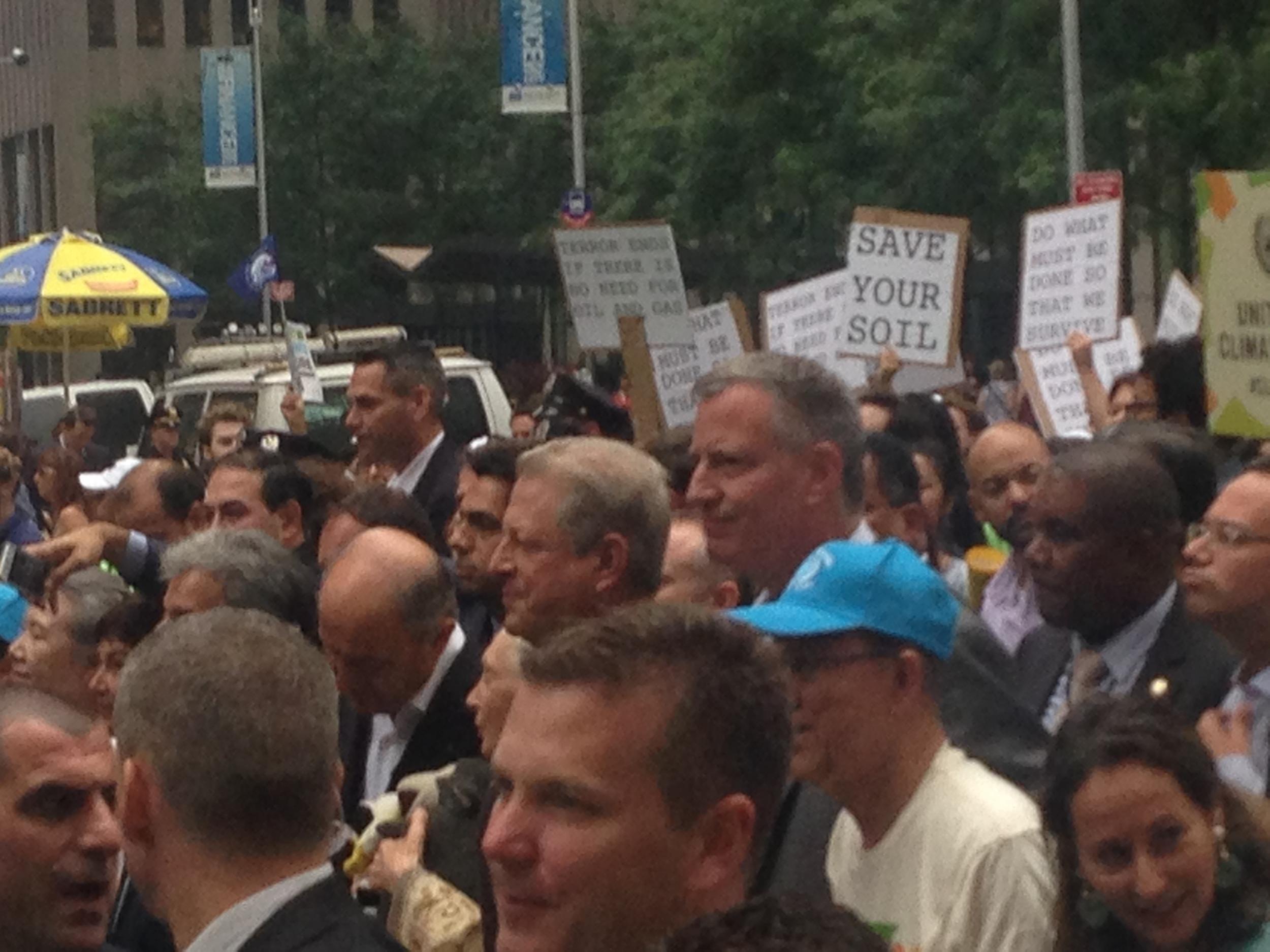 Ban Ki-moon, Jane Goodall, Al Gore & Bill de Balsio in the crowd.