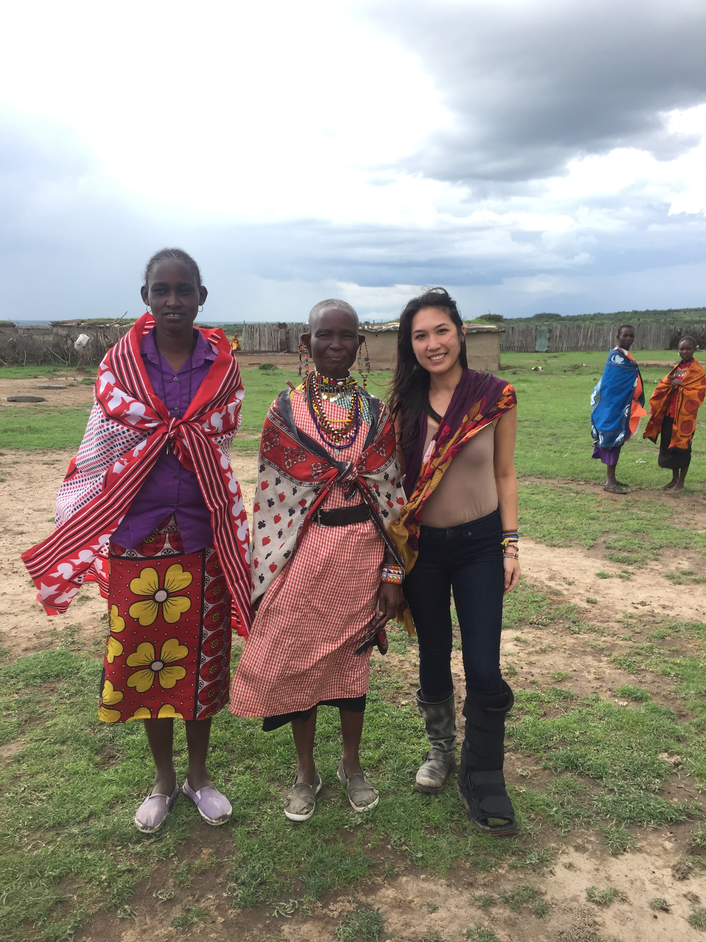 Standing with Mama Williams, the head elder of the village.