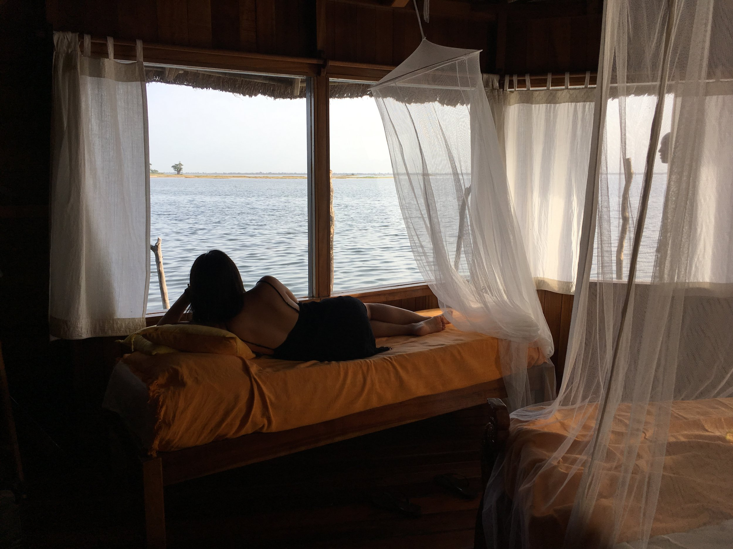 The view of the river delta from the bungalow.