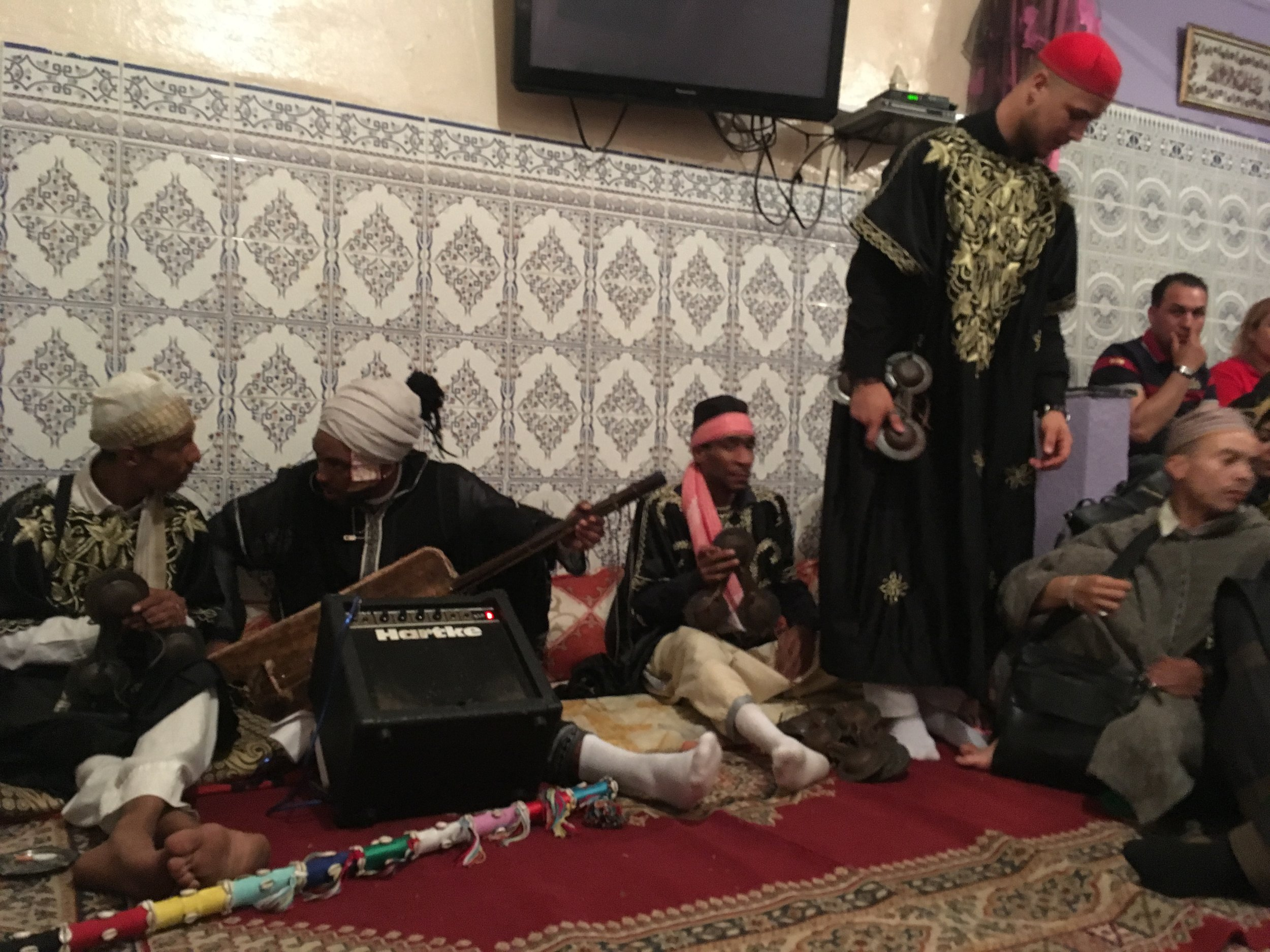 Gnawa  musicans playing at a Lila, this very special friends and family only celebration.